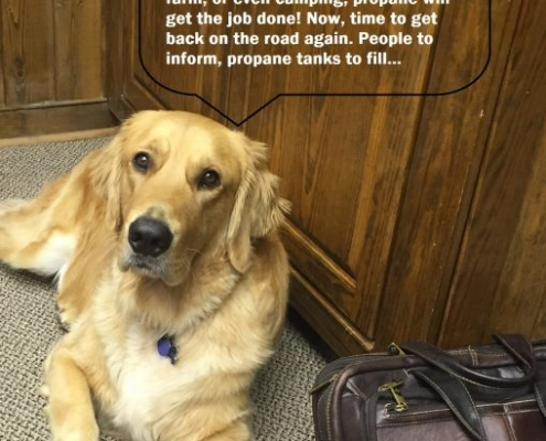 Luke the APS dog getting ready to hit the road to spread the word about the clean, American made energy, propane. Send in a photo of your pet with a witty caption for a chance to win a one hundred dollar visa card
