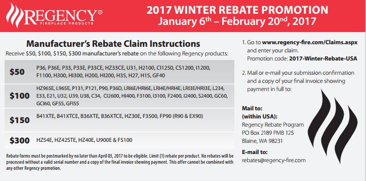 Regency Manufacturer's Rebate Claim Instructions